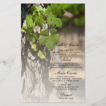 Grape Leaves Vineyard Wedding Menu