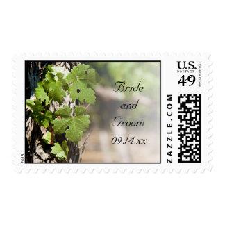Grape Leaves Vineyard Wedding Postage Stamp