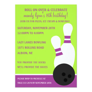 Grape/Lime Roll On Over Bowling Birthday Party 6.5x8.75 Paper Invitation Card