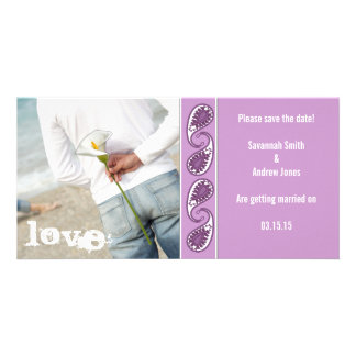 Grape Paisley Save the Date Customized Photo Card