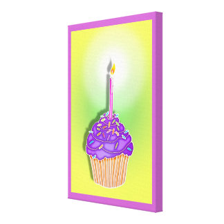 Grape & Peach BIRTHDAY CUPCAKE & CANDLE Gallery Wr Canvas Prints