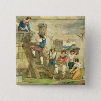 Grape-pickers carrying grapes to the press pinback button