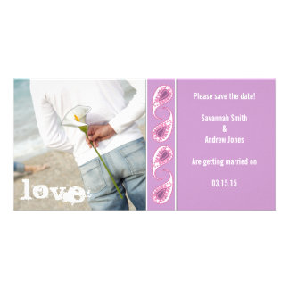 Grape & Pink Paisley Save the Date with Your Photo Card