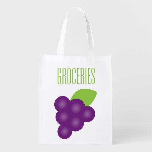 Grape Print Grocery Grocery Bags