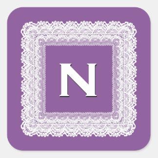 Grape Purple and White Lace Wedding Monogram V013 Square Sticker