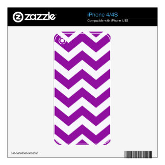Grape Purple and White Zigzags Decal For iPhone 4