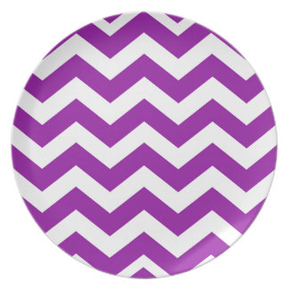Grape Purple and White Zigzags Dinner Plate