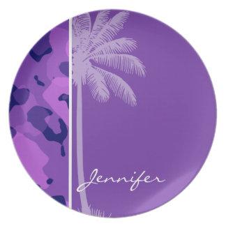 Grape Purple Camo; Summer Palm Dinner Plate