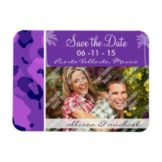 Grape Purple Camo; Summer Palm Rectangular Magnets
