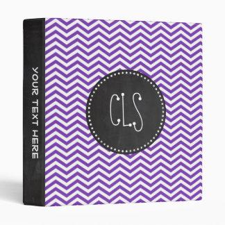 Grape Purple Chevron Stripes; Chalkboard look Vinyl Binder