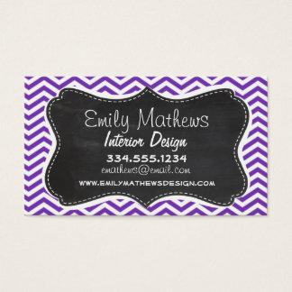 Grape Purple Chevron Stripes; Chalkboard look Business Card
