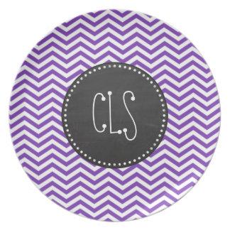 Grape Purple Chevron Stripes; Chalkboard look Dinner Plate