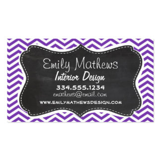 Grape Purple Chevron Stripes; Chalkboard look Double-Sided Standard Business Cards (Pack Of 100)