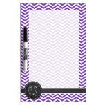 Grape Purple Chevron Stripes; Chalkboard look Dry-Erase Boards