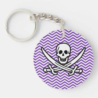 Grape Purple Chevron Stripes; Jolly Roger Double-Sided Round Acrylic Keychain