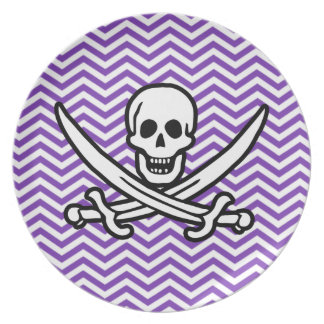 Grape Purple Chevron Stripes; Jolly Roger Plate
