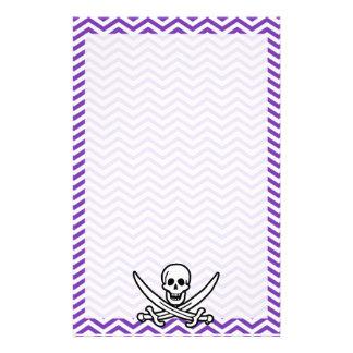 Grape Purple Chevron Stripes Jolly Roger Custom Stationery
