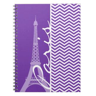 Grape Purple Chevron Stripes; Paris Spiral Notebook