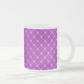 Grape, Purple Criss-Cross Pattern 10 Oz Frosted Glass Coffee Mug