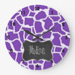 Grape Purple Giraffe Animal Print; Chalkboard look Clocks