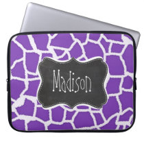 Grape Purple Giraffe Animal Print; Chalkboard look Laptop Sleeve
