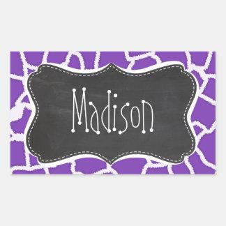 Grape Purple Giraffe Animal Print; Chalkboard look Rectangular Sticker