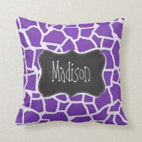 Grape Purple Giraffe Animal Print; Chalkboard look Throw Pillow