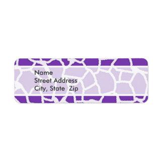 Grape Purple Giraffe Animal Print Label