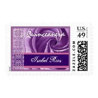 GRAPE PURPLE Lace Rose Quinceanera - Custom Name Stamp