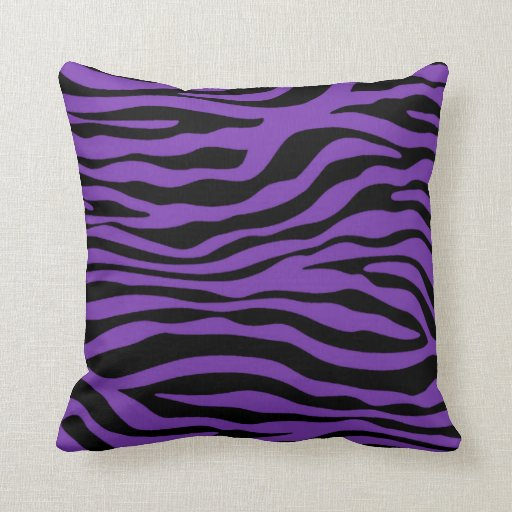 Grape Purple Zebra Stripes Animal Print Throw Pillow
