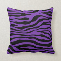Grape Purple Zebra Stripes Animal Print Throw Pillow