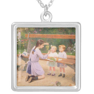 Grape tasting silver plated necklace