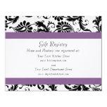 Grape Trim Black Damask Gift Registry Wedding 4.25x5.5 Paper Invitation Card