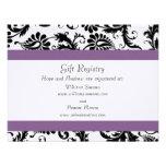 Grape Trim Black Damask Gift Registry Wedding Announcements