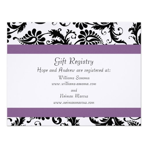 Unique Wedding Gifts Not On Registry : Grape Trim Black Damask Gift Registry Wedding 4.25x5.5 Paper ...