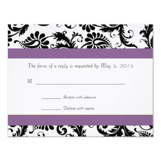 Grape Trim Black Damask Swirls Wedding Response Card