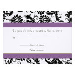 Grape Trim Black Damask Swirls Wedding Response Custom Invites