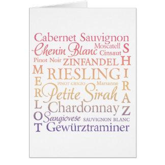 Grape Varietals Wine Card