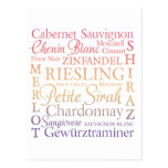 Grape Varietals Wine Post Cards