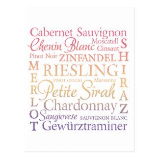 Grape Varietals Wine Postcard