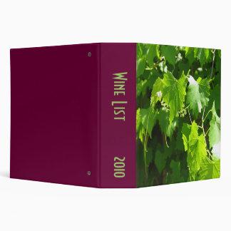 Grape Vine 3 Ring Binders