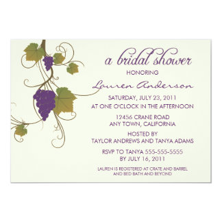 Grape Vine Bridal Shower Card