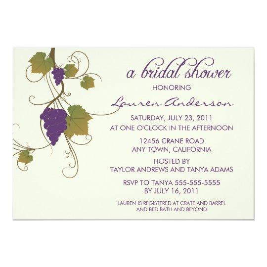 Grape Vine Bridal Shower Card