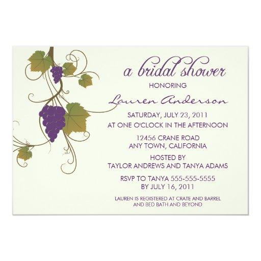 Grape Vine Bridal Shower Custom Invitations