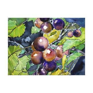 grape vine grapes purple still life painting canvas print