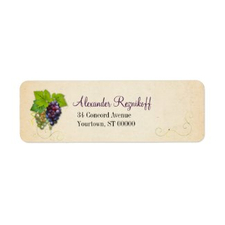 Grape Vine Return Address Label label