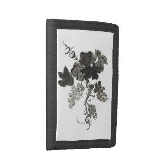 Grape Vine, Sumi-e Tri-fold Wallets