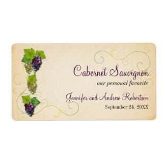 Grape Vine Wine Bottle Horizontal Label