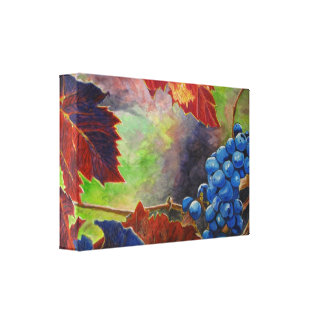 Grape Vines Acrylic Painting  Wrapped Canvas