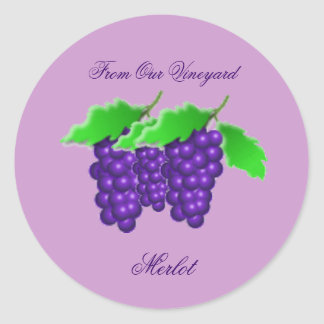 Grape Vineyard Preserves or Wine Canning Label Classic Round Sticker